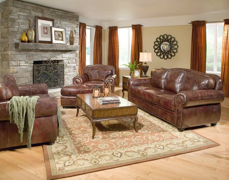 Wonderful Leather Furniture Decor Living Room   Furniture : Living Room Color Schemes With Brown Leather Furniture Plus  Wooden Coffee Table And Brown Leather Sofa Design With Ikea Rugs Ideas Also  Laminate ...