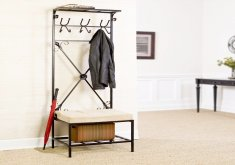 Amazing Entryway Bench With Rack   Entryway Storage Bench With Coat Rack Metal