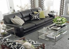 living room ideas for black leather couches