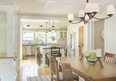 Attractive Light Over Kitchen Table   Farmhouse Medium Tone Wood Floor Kitchen/dining Room Combo Idea In  Providence