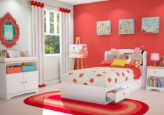 Awesome Girls Red Bedroom   Red And White Kids Bedroom Ideas