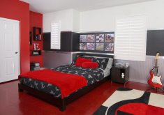 Beautiful Girls Red Bedroom   Enchanting Cool Room Ideas For Teenagers With Black Double Bed And Red Sheet