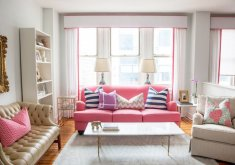 Charming Pink Living Room Furniture   Pink Sofa And Striped Pillows