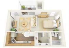 furniture layout for studio apartment