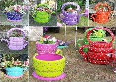Lovely Garden Crafts To Make   10 Colorful Garden Crafts To Make From Old Tires 1 | Garde. Crafts |  Pinterest | Tired, Gardens And Craft