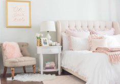 Marvelous Light Pink Bedroom   This Lush Pink Bedroom Is Flushed With Soft Details Including A Faux Fur  Rug And Light