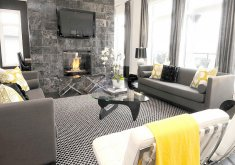 black grey and yellow living room