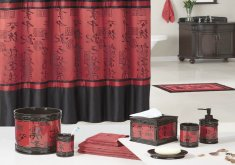 red and black bathroom set
